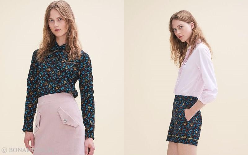 Лукбук коллекции Maje осень-зима 2017-2018: розовая и зеленая цветастая блузка и юбка