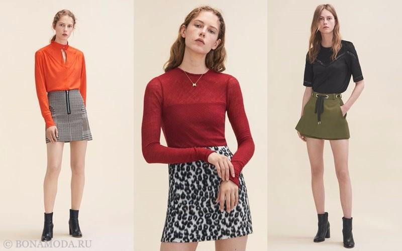 Лукбук коллекции Maje осень-зима 2017-2018: короткие юбки-трапеция с футболками