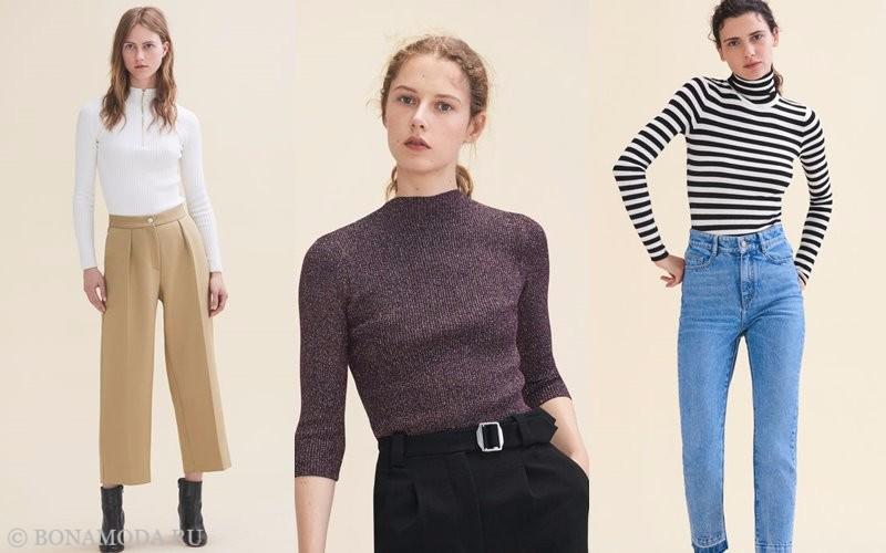 Лукбук коллекции Maje осень-зима 2017-2018: трикотажные водолазки с брюками и джинсаим