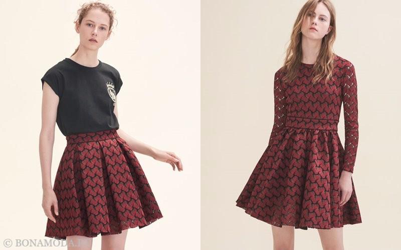 Лукбук коллекции Maje осень-зима 2017-2018: красные плиссированные юбки и платья