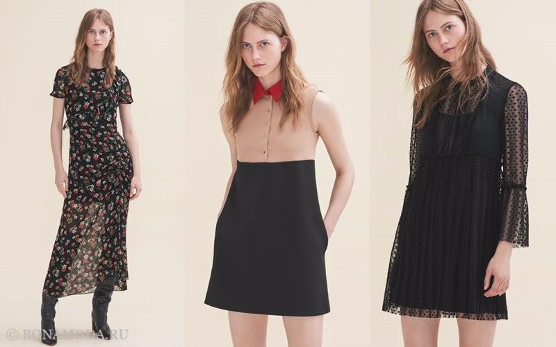 Лукбук коллекции Maje осень-зима 2017-2018: длинное платье с цветочным принтом и короткие черные