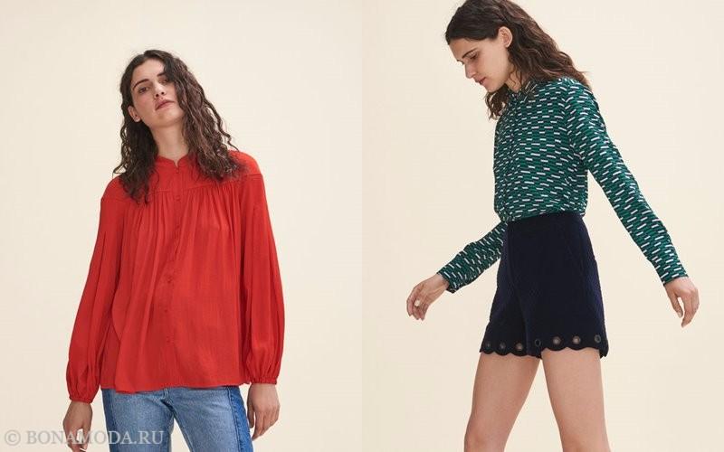 Лукбук коллекции Maje осень-зима 2017-2018: красная блузка с джинсами и зеленая блузка с короткими черными шортами