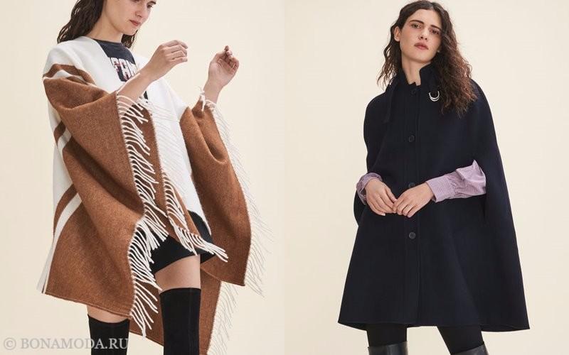 Лукбук коллекции Maje осень-зима 2017-2018: бело-бежевое пончо и черное пальто кейп с прорезями