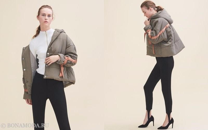 Лукбук коллекции Maje осень-зима 2017-2018: короткая куртка-пуховик с черными леггинсами и туфлями