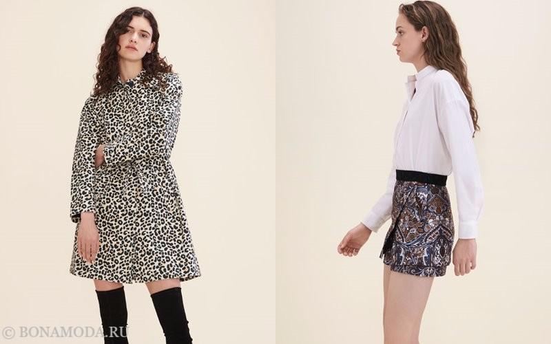 Лукбук коллекции Maje осень-зима 2017-2018: леопардовое приталенное платье и белая блузка с короткой юбкой
