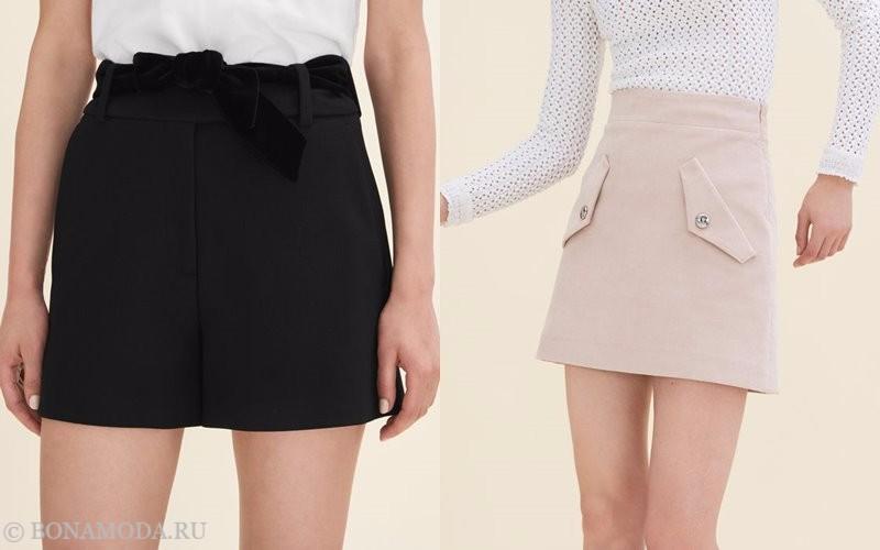 Лукбук коллекции Maje осень-зима 2017-2018: черные шорты и пудровая мини-юбка