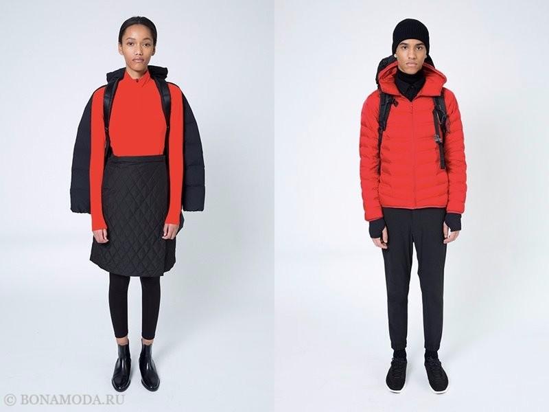 Лукбук коллекции Uniqlo осень-зима 2017-2018 - красный и черный