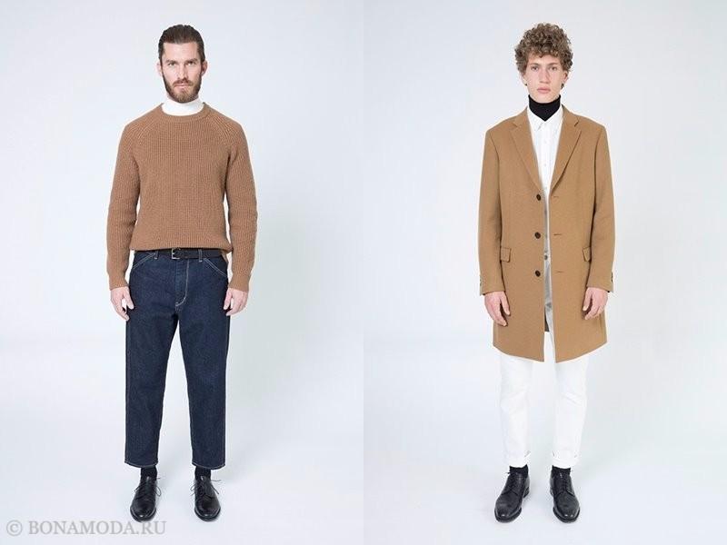 Лукбук мужской коллекции Uniqlo осень-зима 2017-2018 - бежевый трикотажный свитер и пальто