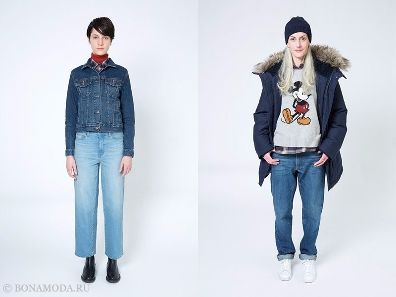 Лукбук женской коллекции Uniqlo осень-зима 2017-2018 - джинсы и куртка парка