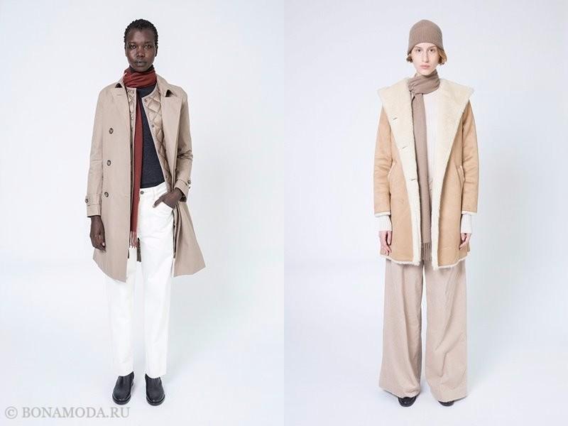 Лукбук женской коллекции Uniqlo осень-зима 2017-2018 - бежевое пальто и дубленка