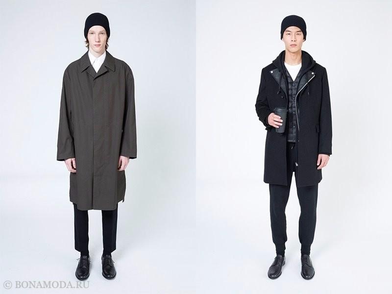 Лукбук мужской коллекции Uniqlo осень-зима 2017-2018 - пальто хаки и черное