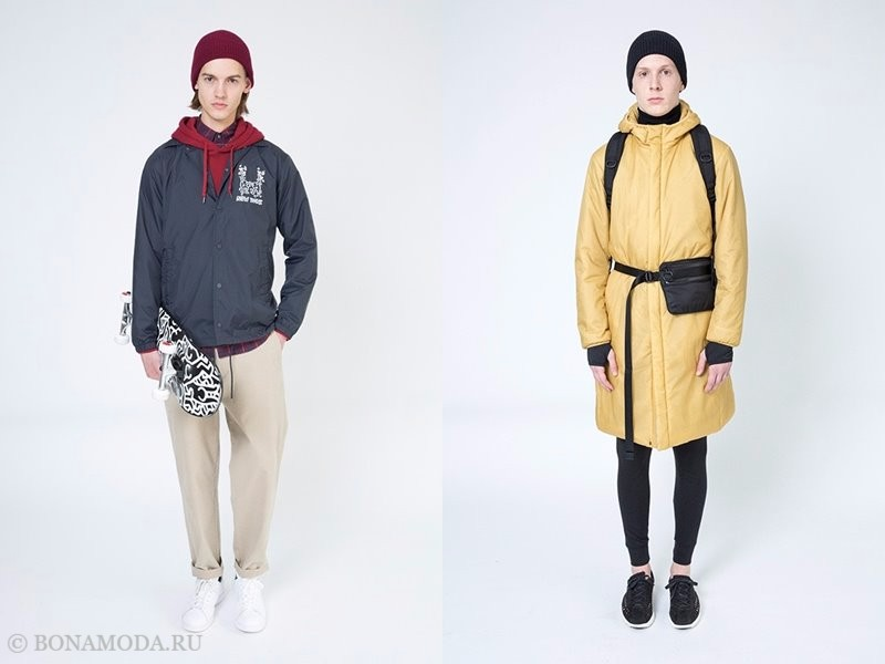 Лукбук мужской коллекции Uniqlo осень-зима 2017-2018 - ветровка и болоньевое пальто