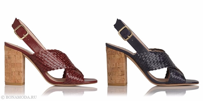 Модные босоножки коллекции L.K. Bennett лето-2017: плетеные на высоком широком пробковом каблуке