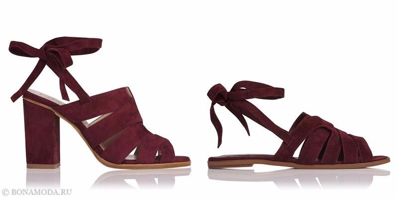 Модные босоножки коллекции L.K. Bennett лето-2017: бордовые замшевые