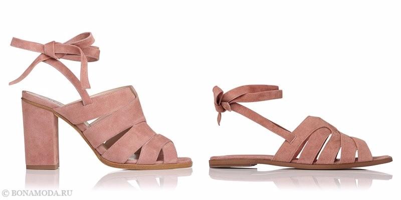 Модные босоножки коллекции L.K. Bennett лето-2017: розовые замшевые