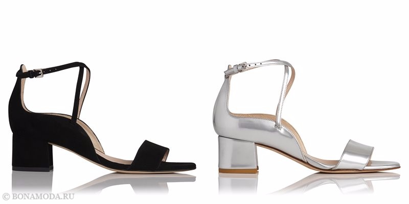 Модные босоножки коллекции L.K. Bennett лето-2017: черные и серебряные на низком каблуке