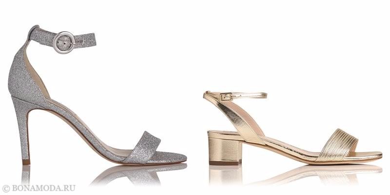 Модные босоножки коллекции L.K. Bennett лето-2017: серебристые глиттер и золотые