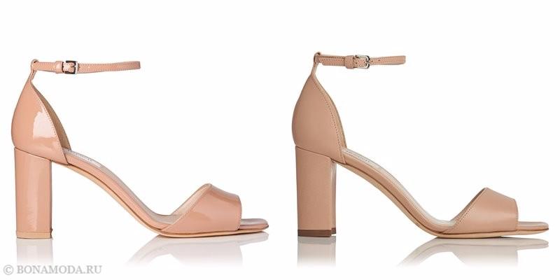 Модные босоножки коллекции L.K. Bennett лето-2017: бежевые кожаные на устойчивом каблуке