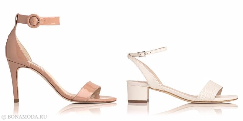 Модные босоножки коллекции L.K. Bennett лето-2017: лакированные бежевые и пудровые на низком каблуке