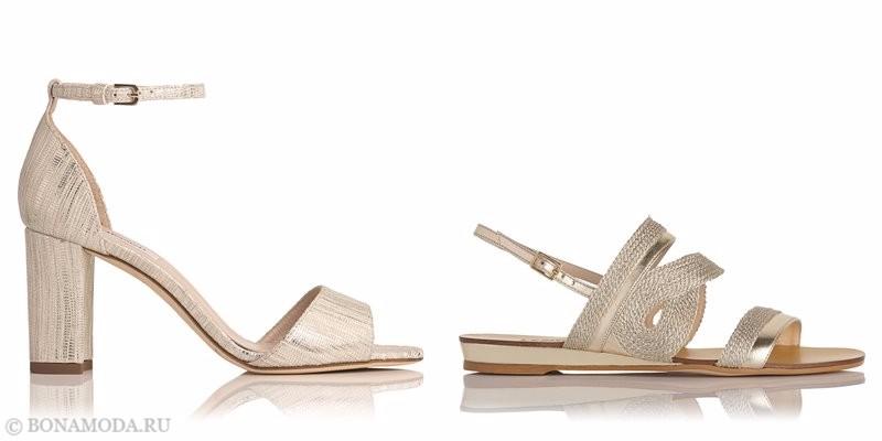 Модные босоножки коллекции L.K. Bennett лето-2017: золотые на широком каблуке и плоском ходу