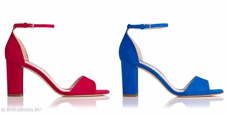 Модные босоножки коллекции L.K. Bennett лето-2017: красные и голубые замшевые на устойчивом каблуке
