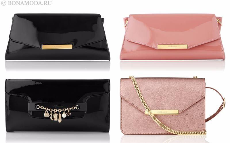 Модные клатчи L.K. Bennett лето-2017: лакированные черные и розовые