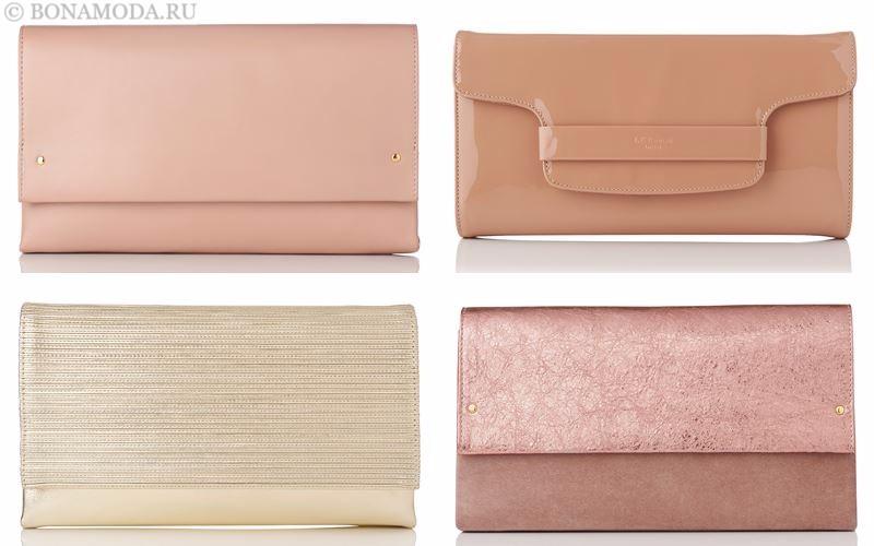 Модные клатчи L.K. Bennett лето-2017: розовые и бежевые конверты