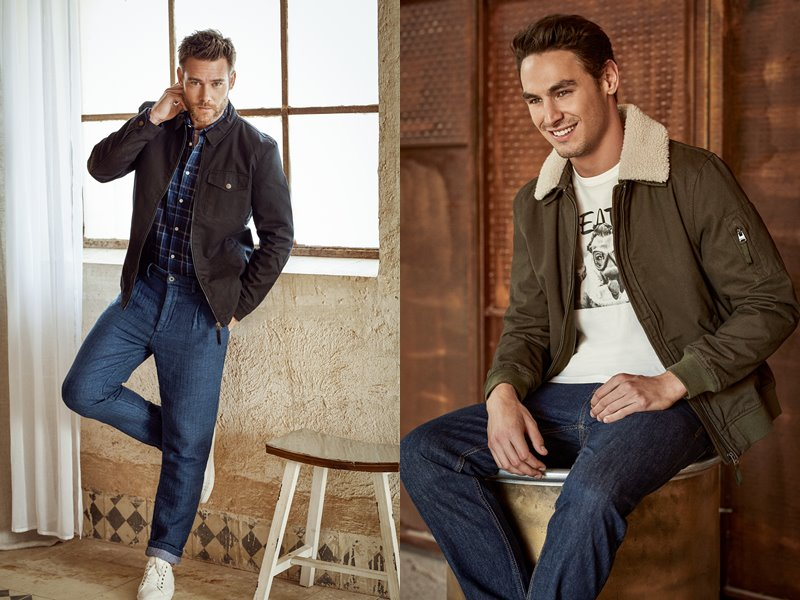 Лукбук коллекции Springfield осень-зима 2017-2018: мужские джинсы с курткой