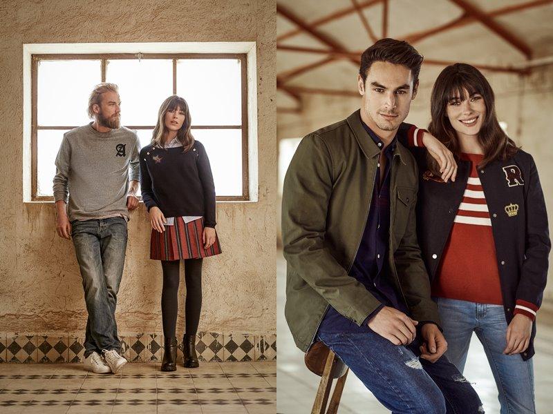 Лукбук коллекции Springfield осень-зима 2017-2018: джинсы с джемпером и красная юбка с плотными колготками