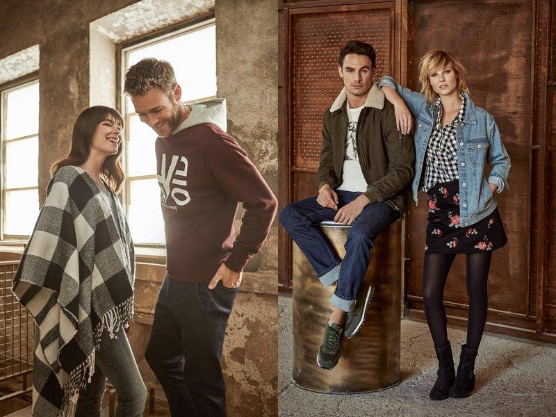 Лукбук коллекции Springfield осень-зима 2017-2018: клетчатое пончо, джинсовка и куртка с джинсами