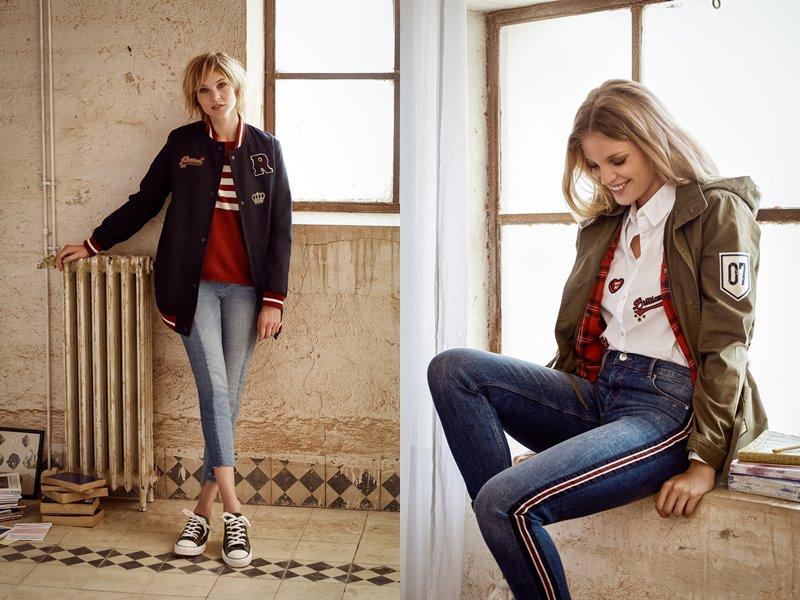 Лукбук коллекции Springfield осень-зима 2017-2018: женские джинсы скинни с курткой