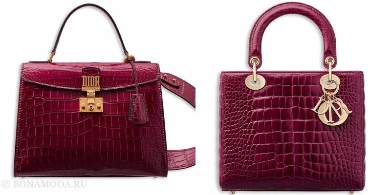 Сумки Christian Dior осень-зима 2017-2018: бордовая лакированная крокодиловая кожа