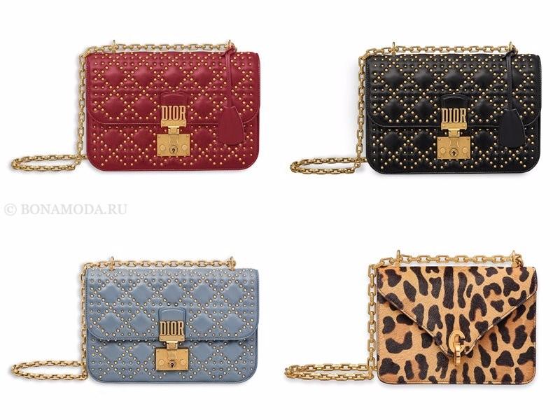 Сумки Christian Dior осень-зима 2017-2018: золотистые заклепки и леопардовый принт