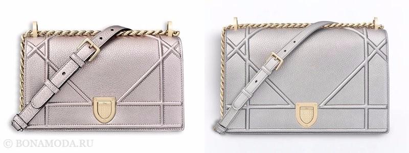 Сумки Christian Dior осень-зима 2017-2018: серебристые кожаные чрез плечо