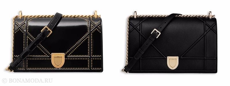 Сумки Christian Dior осень-зима 2017-2018: черные кожаные через плечо