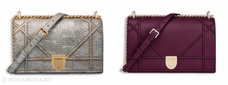 Сумки Christian Dior осень-зима 2017-2018: змеиная серебристая и фиолетовая с длинным ремешком