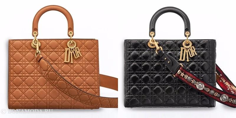 Сумки Christian Dior осень-зима 2017-2018: коричневые и черные стеганые тоут