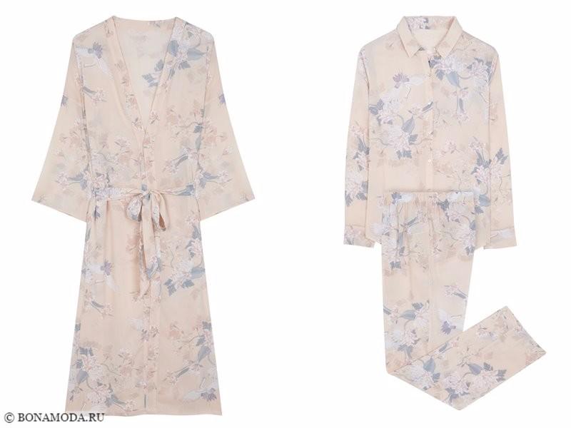 Халат и пижама с цветочным принтом Women'secret осень-зима 2017-2018