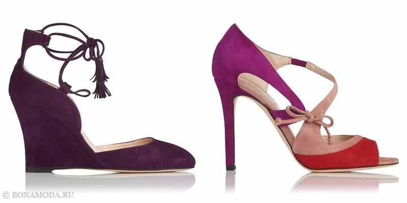 Замшевые туфли коллекции L.K. Bennett лето-2017 - фиолетовые на танкетке и розовые колор блок на шпильке