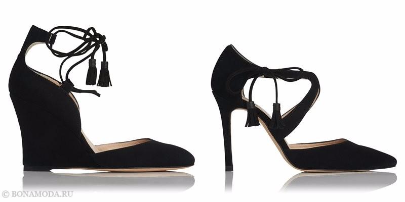 Замшевые туфли коллекции L.K. Bennett лето-2017 - черные на танкетке и шпильке