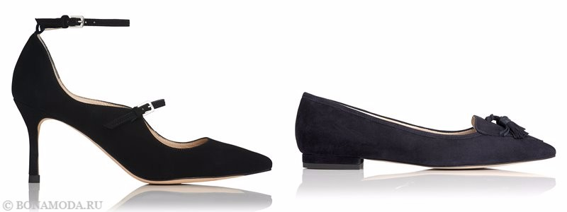 Замшевые туфли коллекции L.K. Bennett лето-2017 - черные лодочки с с острым мыском