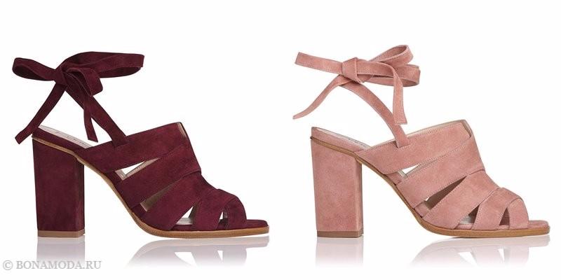 Замшевые туфли коллекции L.K. Bennett лето-2017 - бордовые и пудрово-розовые босоножки на толстом каблуке