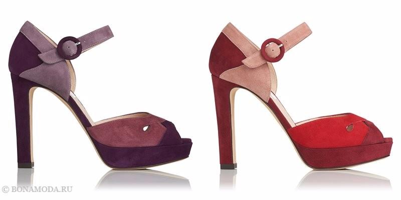 Замшевые туфли коллекции L.K. Bennett лето-2017 - фиолетовые и красные босоножки колор блок на высоком каблуке