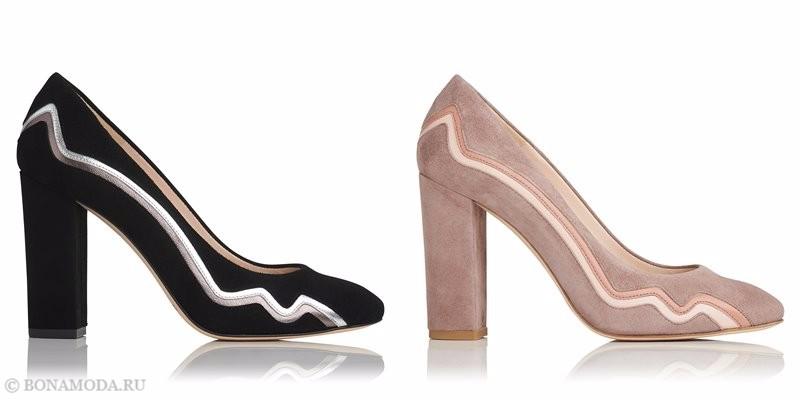 Замшевые туфли коллекции L.K. Bennett лето-2017 - черные и розово-бежевые лодочки на устойчивом каблуке
