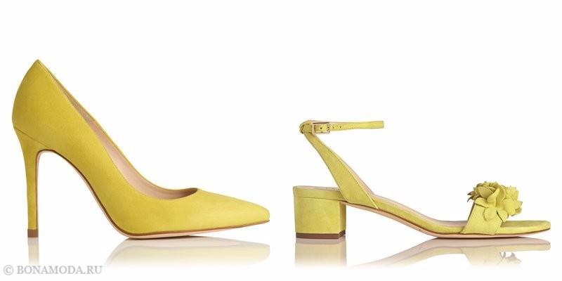 Замшевые туфли коллекции L.K. Bennett лето-2017 - желтые лодочки на шпильке и босоножки низком каблуке