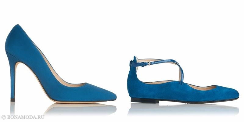 Замшевые туфли коллекции L.K. Bennett лето-2017 - голубые лодочки на шпильке и плоские