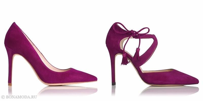 Замшевые туфли коллекции L.K. Bennett лето-2017 - фиолетовые остроносые лодочки