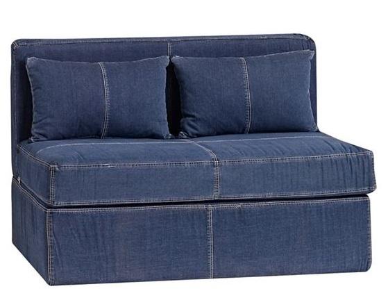 Джинсовый диван - двухместный с подушками без подлокотников
