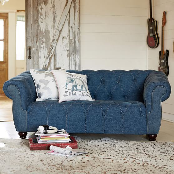 Джинсовый диван - стиль барокко с пуговицами