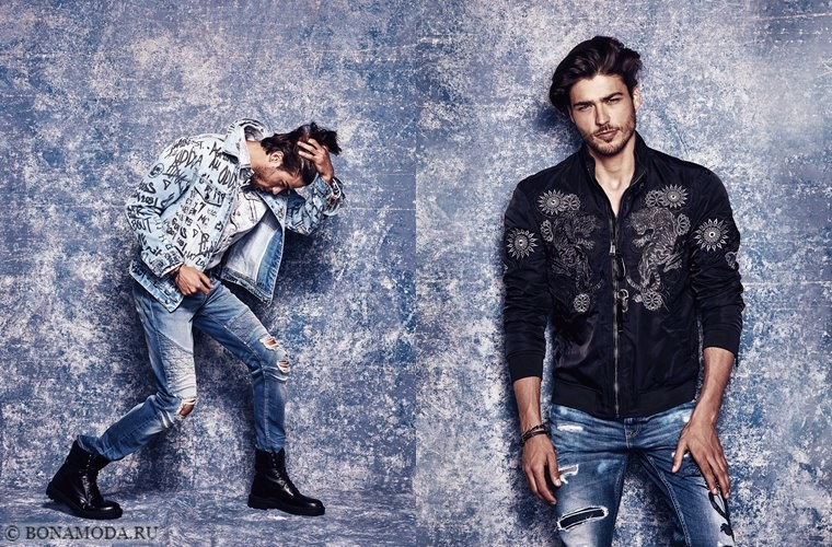 Коллекции Guess Tattoo Remix осень-2017 - мужские джинсы и куртки с вышивками